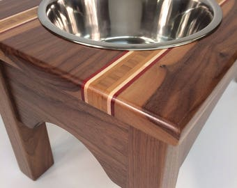 Walnut raised feeder with bamboo, maple, and padauk accents