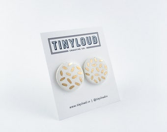 Large Gold Graphic Studs