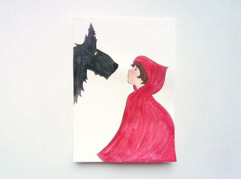 Sprookjes kunst roodkapje en de wolf originele waterverf etsy