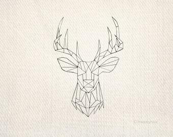 Geometric Deer Svg Etsy