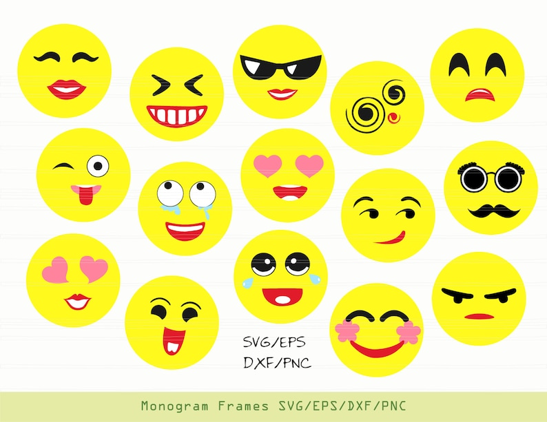 Emoji SVG, emoji decal, emoji clipart, emoji party, svg files for cricut  INSTANT DOWNLOAD - Royalty Free, Commercial Use, Business Use