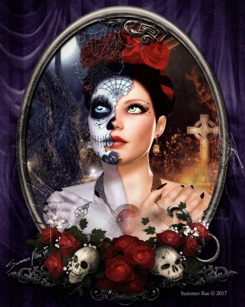 Halloween Art Flower Crown Gothic Decor Skull Art Rose Etsy