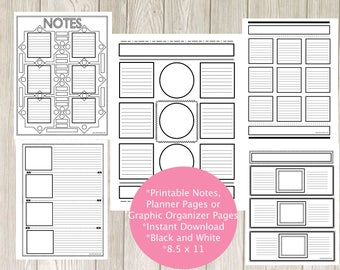 Planner Note Pages -Creative Notes Pack 1 - Instant Download