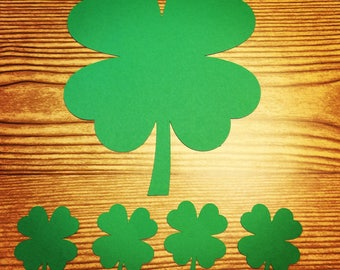 4 Leaf Clover, Shamrock, St. Patricks Cut Outs (Various Sizes and Colors Available)
