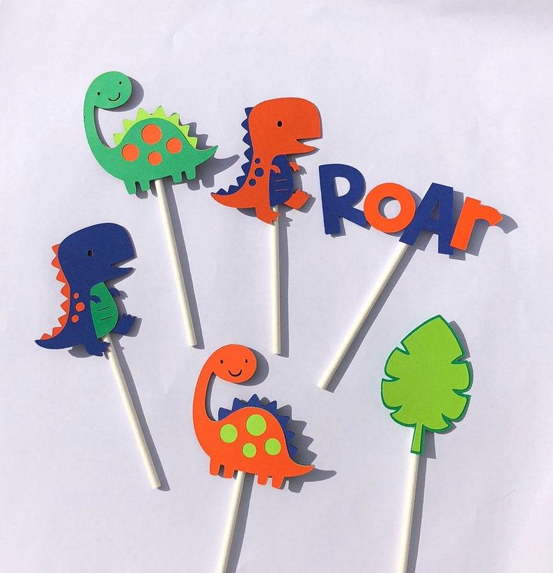Dinosaur Cupcake Toppers; Dinosaur BIrthday Party; Dinosaur Cake Decoration; Dinosaur Theme; Orange Dinosaur; ROAR Cake Topper; Dino Party