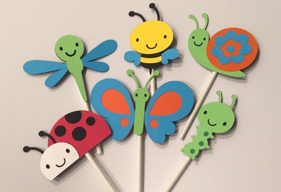 Bugs Cupcake Toppers Set of 12  Bug/'s Life Baby Shower Paper Ladybug Butterfly Worm Snail Bee Cupcake Topper Woodland Forest Cupcake Topper