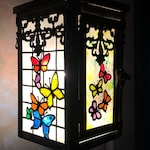 Hanging Butterfly Decor, Butterfly Lantern, Hummingbird Decor, Lantern Lights, Hand Painted Lanterns, Faux Stained Glass Lanterns