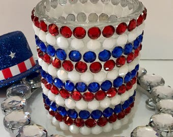 Red White and Blue Candles, 4th Of July Decor, Mosaic Candle Holder, Patriotic Decor, Rhinestone Candle Holder, Red White and Blue