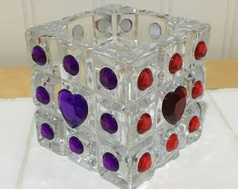 Square Candle Holder, Glass Candle Holder, Purple Heart, Red Heart, Gifts Under 20, Flameless Candles, Rhinestone Candle Holder, Square