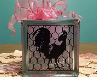 Modern Farmhouse Decor, Rooster Decor,  Rooster Kitchen Decor, Farmhouse Rooster Decor, Chicken Wire Decor, Rooster Night Light, Rose Gold
