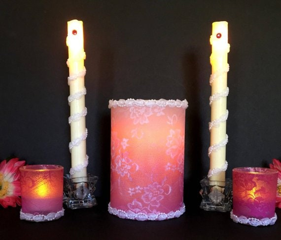 Superb Romantic Wedding Candles Pink Lace Candle Centerpiece Led Wedding Candles Wedding Centerpieces Bride And Groom Wedding Table Centerpiece Home Interior And Landscaping Analalmasignezvosmurscom