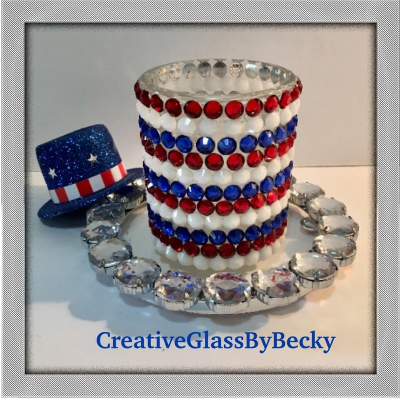 Red White And Blue Candles 4th Of July Decor Mosaic Candle Etsy