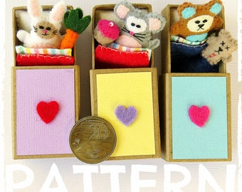 PATTERN: Matchbox Animal Bed - Felt mouse, rabbit and teddy patterns