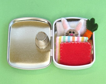 Micro Bunny in a white Tin Bed - Tiny Felt Rabbit with carrot - Easter