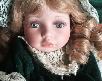 Vintage Musical Doll Camille Collectible Memories Genuine Porcelain Doll Plays Oh Tannenbaum Oh Christmas Tree