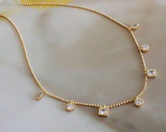 Mixed shaped CZ Diamond Charm Dainty Necklace - Minimal / Simple Jewelry