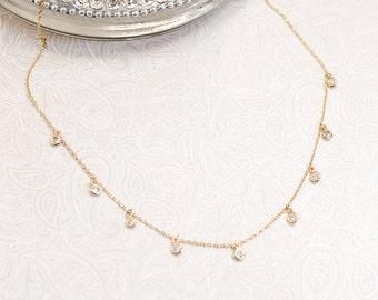 Tiny Drop Bezel CZ Diamonds Dainty Necklace ~ Silver925  - Minimal / Simple Jewelry