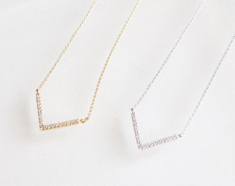 V Charm Paved CZ Diamond Dainty Necklace ~Silver / Gold - minimal simple jewelry
