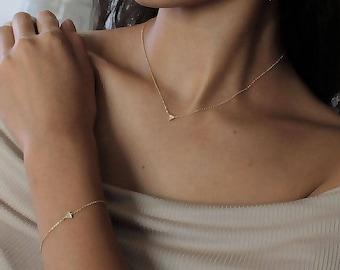 Paved CZ Diamond Triangle Charm Dainty Necklace ~Silver / Gold - minimal simple jewelry