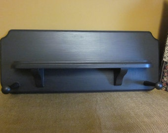 Primitive Country Black Wall Shelf with Pegs