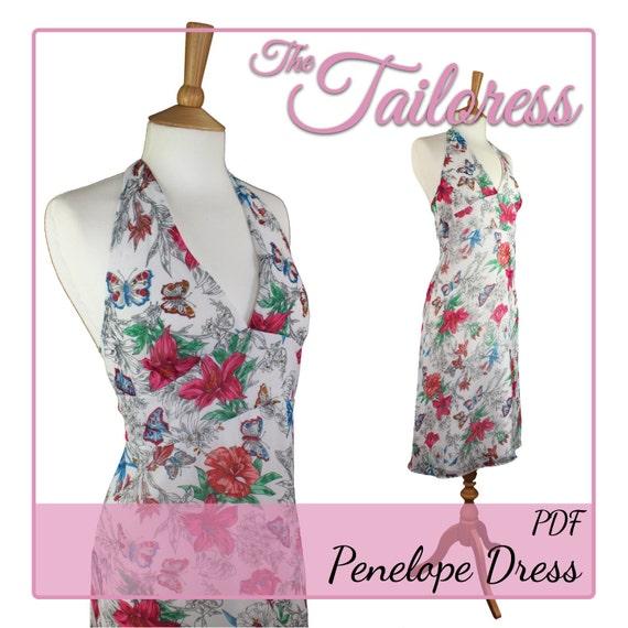 Penelope Halter Neck Dress PDF Sewing Pattern Dress Pdf | Etsy