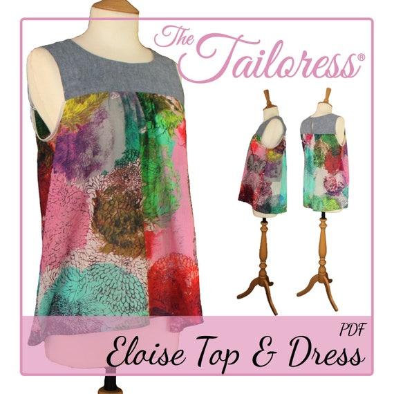 Eloise Kleid PDF Muster oben Pdf Nähen Schnittmuster für | Etsy