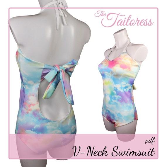 V-neck Badeanzug PDF Nähen Muster Bikini Pdf Nähen Muster | Etsy