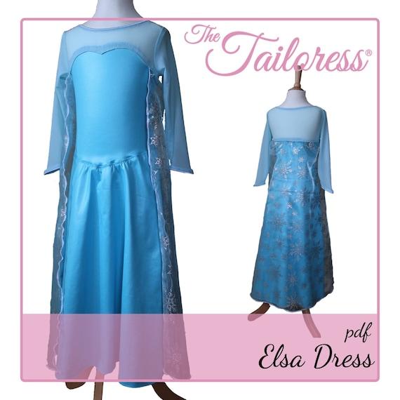 Alter 1-6 Elsa gefrorene Pdf Schnittmuster Kleid Nähen Muster