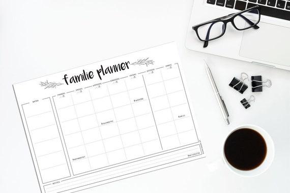 Kühlschrank Planer A3 : Familienplaner a designclaud schwarz weiß wöchentlich planer etsy