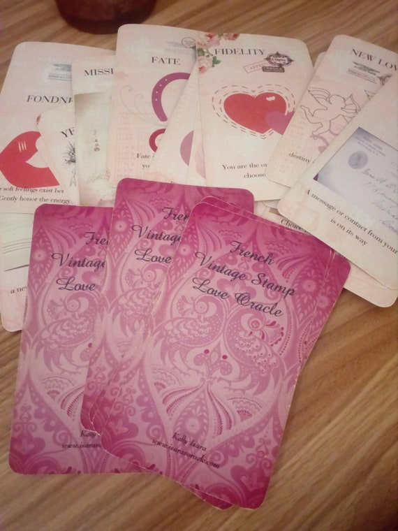 french vintage stamp love oracle romance cards customer