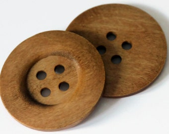 2 Extra Large 50mm Brown Wooden Buttons - Natural Round - 4 holes - Rimmed Button - Large Buttons - NW89