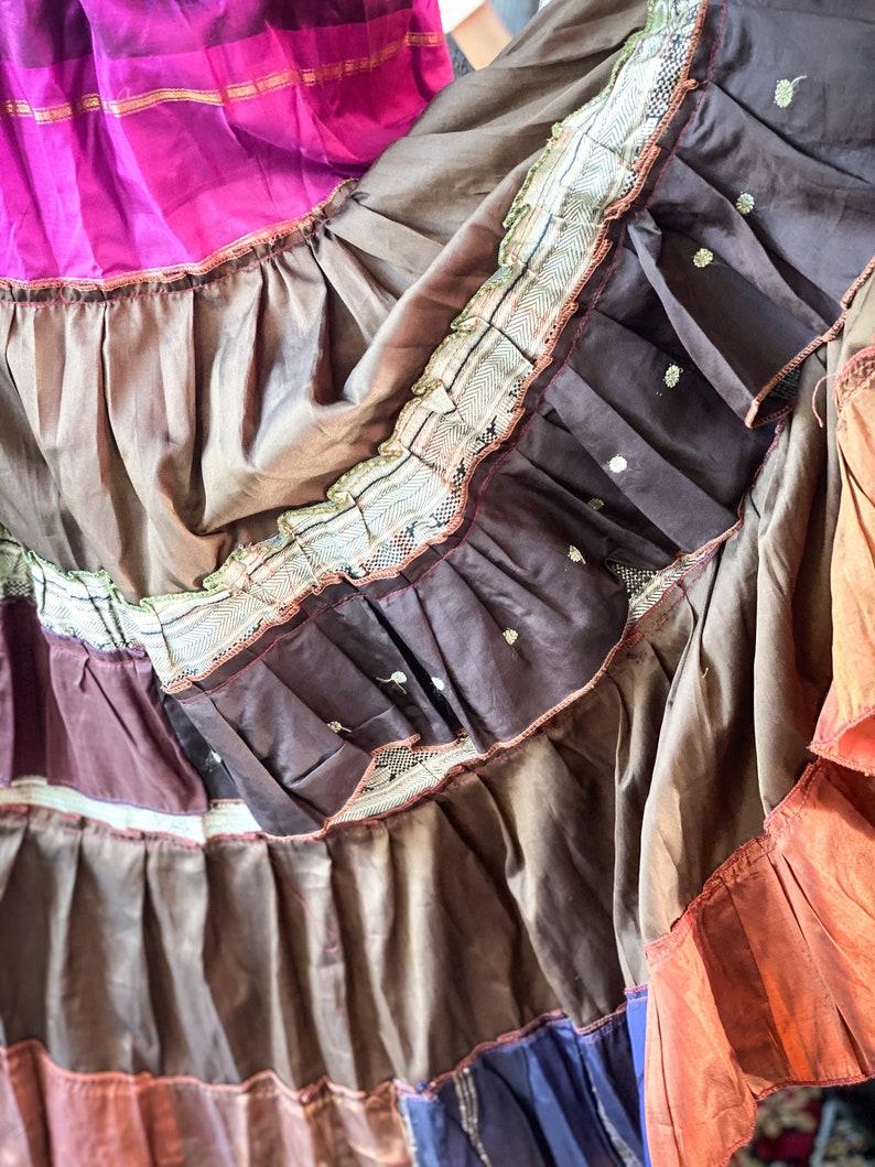 Fushia Brown Combo Martinesque Ruffled Multi-Tier Silk Skirt Gypsy Skirt Pirate Skirt Fairy Skirt Tribal Belly Dance Skirt Wedding Skirt
