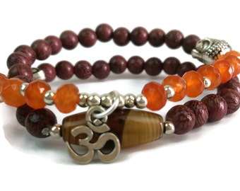 Orange Chalcedony and Violet Sandalwood Wrap Yoga Mala Om Charm Bracelet with Copper Buddha Head, Tibetan Dzi Bead 925 Silver Womens Jewelry