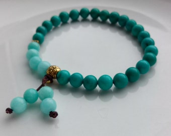 Turquoise and Amazonite Stackable Mala Bracelet Simple Elegant Rustic Stackable Bohemian Tribal Women stretchy adjustable 6mm