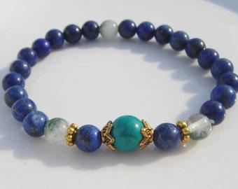Kapilavastu- Lapis Lazuli Peridot Crystal Turquoise Third Eye Chakra Mala Bracelet 6mm Beads Meditation Healing Yoga Stackable Mantra Focus