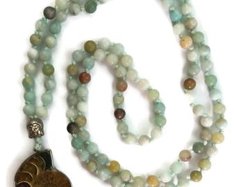 Earth Collection 6mm or 8mm Amazonite Traditional Knotted 108 Meditation Mala Necklace Throat Chakra Ammonite Fossil Pendant Jewelry