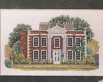 Georgian House Counted Cross Stitch Pattern - Antique Mansion Cross Stitch - Summer House Cross Stitch