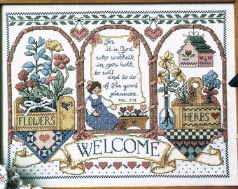 Country Market Welcome Counted Cross Stitch Chart  - Country Cross Stitch Chart - Christian Cross Stitch - Welcome Sign