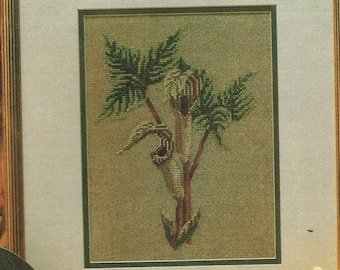 Jack In The Pulpit Flower Counted Cross Stitch Patterns - Plant Cross Stitch - Flower Cross Stitch