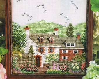 Springtime Cottage Counted Cross Stitch Pattern - English Cottage Cross Stitch - House Cross Stitch