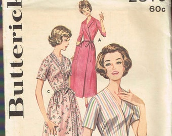a3be18f002 Size 14 Misses  Vintage Easy Shawl Collar Wrap Dress or Robe Sewing Pattern  - Butterick 2319