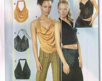 Size 6-18 Misses' Easy Top Sewing Pattern - Drape Neckline Halter Top - Backless Evening Top - Cropped Top - Burda 8398