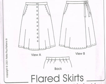 d08e4eff870 Size 14-24 Misses  Petite Plus Size Skirt Sewing Pattern - Button Front Flared  Skirt - Wrap Skirt Pattern - Petite Plus Pattern 502