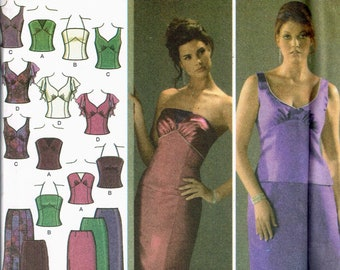 f8899e3c48 Size 10-18 Misses  Formal Dress Sewing Pattern - 2 Piece Formal Dress -  Bustier Spaghetti Strap Top - Long Mermaid Skirt - Simplicity 4401