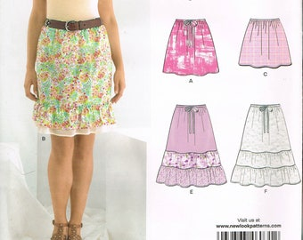 Size 8-18 Misses Easy Short Skirt Sewing Pattern - Pull On Skirt Pattern - Tiered Skirt Pattern  - Ruffled Hem Skirt - New Look 6031