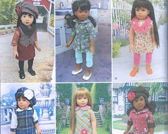 "18"" Tall Doll Clothes Sewing Pattern - Doll Jumper Dress - Doll Hat Pattern - Doll Vest - Doll Wardrobe - Craft Pattern - Simplicity 1089"