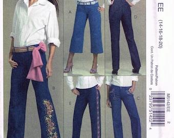 645be7da41a Misses  Size 14-20 Plus Size Jeans Sewing Pattern - Bootleg Pants Straight Leg  Pants - Capri Length Jeans Sewing Pattern - McCalls M5142
