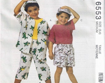 Size 3-4 Girls or Boys Pull On Pants Or Shorts With Short Sleeve Shirt & Baseball Hat Sewing Pattern - McCalls 6553