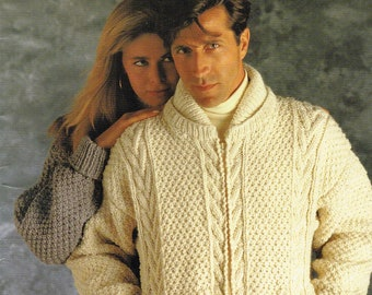 95cfe1b848e3 Misses or Mens Chunky Irish Style Sweater Knitting Patterns - Northern  Spirit - Bouquet 1215