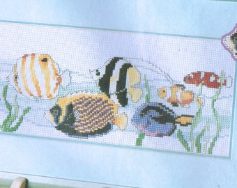 Tropical Fish In the Ocean Counted Cross Stitch Pattern - Exotic Fish Cross Stitch - Ocean Fish - Swimming Fish Pattern